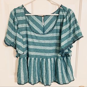 Free People Striped Peplum Crop with Lace Details